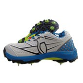 Kookaburra Pro Players Spike Cricket Shoes Blue and Lime