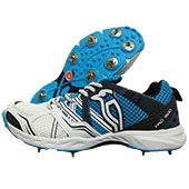 Kookaburra Pro 1500 Full Spike Cricket Shoes White and Blue