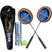 Yonex Mavis 07 Shuttlecock and Set of 2 Kaushal Cosmic Badminton Racket Set