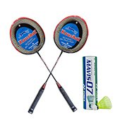 Yonex Mavis 07 Shuttlecock and Set of 2 Kaushal Cosmic Badminton Racket