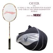 Offer on LI NING G TEK 38 Badminton Racket and thrax Neo series Badminton Kitbag