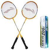 Set of 2 Li Ning Smash XP 710 Badminton Racket And 6 Mavis 200i Shuttlecock