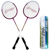 Set of 2 Li Ning Smash XP 708 Badminton Racket And 6 Mavis 200i Shuttlecock