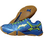 LiNing Razor Court Badminton Shoes Blue and Lime