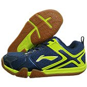 LI NING Volvo Badminton Shoes Navy and Lime