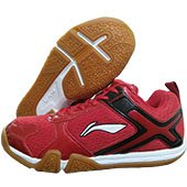 LI NING Volvo Badminton Shoes Red and Black