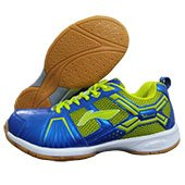 LI NING Cross Badminton Shoes Blue and Lime