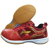 LI NING Cross Badminton Shoes Red and Gold