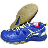LiNing Alpha Badminton Shoes Blue and Lime
