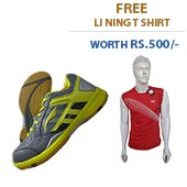 Offer on Li Ning Star Icon AYTK071 4 Badminton Shoes and Li Ning T Shirt