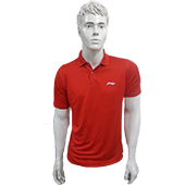 LiNing T Shirt Color Neck with Half sleeve Red Size XXL