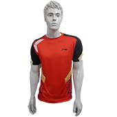 LiNing T Shirt Round Neck with Half sleeve Size Medium White, Red and Black