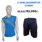 Offer on Li Ning Badminton T Shirt Blue and Shorts Black Combo
