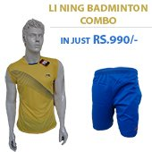 Offer on Li Ning Badminton T Shirt Yellow and Shorts Blue Combo