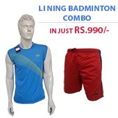 Offer on Li Ning Badminton T Shirt Blue and Shorts Red Combo