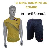 Offer on Li Ning Badminton T Shirt Yellow and Shorts Black Combo