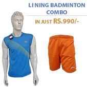 Offer on Li Ning Badminton T Shirt Blue and Shorts Orange Combo