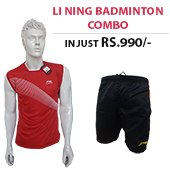 Offer on Li Ning Badminton T Shirt Red and Shorts Black Combo