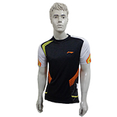 LiNing T Shirt Round Neck with Half sleeve Black, White with Orange Line Size Large