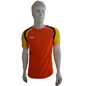 Li Ning Badminton T Shirt A A Y J 019 Blue Orange and Yellow Size Large