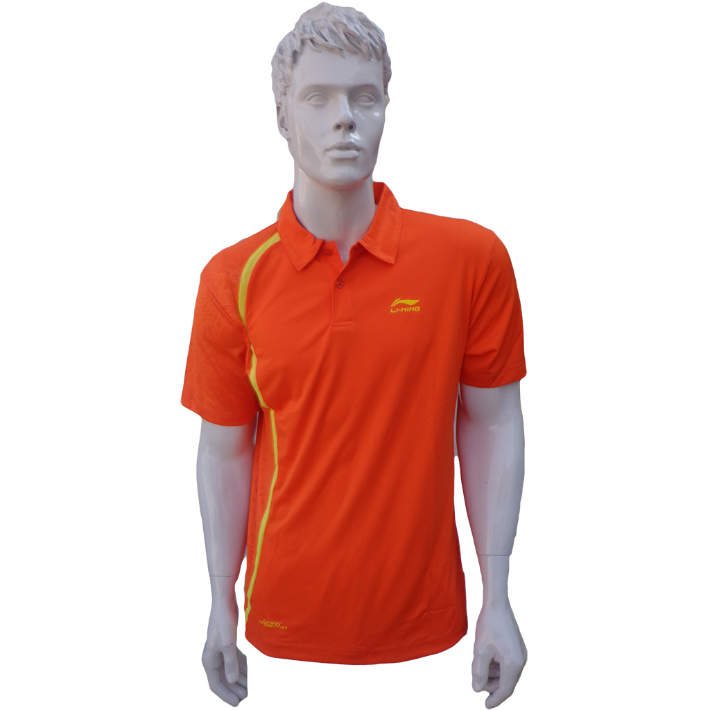 LiNing T Shirt Ladies polo Tee half sleeve Orange Size XL