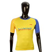 LiNing T Shirt Round Neck with Half sleeve Yellow and Blue Size Large