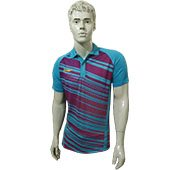 LiNing Polo Tee Badminton T Shirt Colar Neck with Half Sleeve Sky Blue and Purple Size XXS