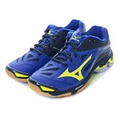 Mizuno Mens Wave Lightning Z2  Mid Top Surf the web and Neon Yellow and Dress Blues