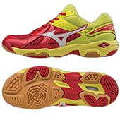 MIZUNO Wave Twister 4 Mens Indoor Shoe Chinese Red and White and Bolt