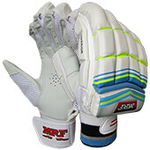 MRF Warrior Cricket Batting Gloves White Blue Lime