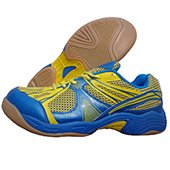 NIVIA New Verdict Badminton Shoes Blue and Yellow lining