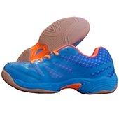 NIVIA New Verdict Badminton Shoes Orange and Blue