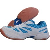 NIVIA New Verdict Badminton Shoes White and Sky Blue