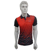 Nivia Badminton T Shirt City Polo Tee Red and Black Color Neck Size Extra Large Lifestyle