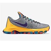 Nike KD 8 Basket Ball Shoe Gray and Yellow