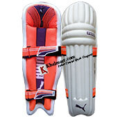 Puma Evo 7 Moulded Cricket Batting Leg Guard White and Orange