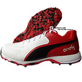 Puma 19 FH Rubber Cricket Shoes White Black and High Risk Red