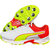 Puma 19.2 Spike Cricket Shoes Red Yellow White