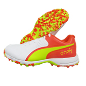 Puma 19 FH Rubber Red Blast Yellow Alert White Cricket Shoes