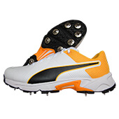 Puma Spike 19.2 Cricket Shoes Puma White Puma Black Orange
