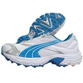 Puma Lithium Rubber stud Cricket Shoes White and blue