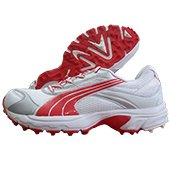 Puma Lithium Rubber stud Cricket Shoes White and Red