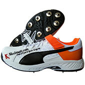 Puma EvoSpeed 18.1 Bowl Spike Cricket Shoes White Black Orange and Purple