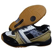 RXN Spirited Badminton Shoes Black White Golden