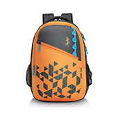 Skybags Pixel Extra 01 Orange and Black Backpack
