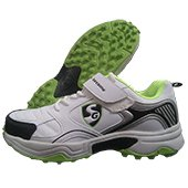 SG Century Stud Cricket Shoes White and Lime