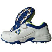 SG Sierra Full Spike Cricket Shoes White Lime and Blue
