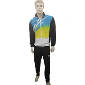 Shiv Naresh Tracksuit Black Blue and Yellow Size Medium