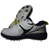 SM 001 Full Spike Cricket Shoes White Navy Green