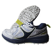 SM 003 Rubber Stud Cricket Shoes White Navy Green
